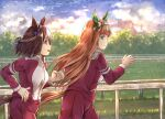 :d animal_ears black_hair blue_bow blue_ribbon blush bow braid brown_hair chain-link_fence closed_mouth commentary ear_bow english_commentary fence green_eyes hair_ribbon hairband highres hikari_niji horse_ears horse_girl horse_tail jacket long_hair long_sleeves multicolored_hair open_mouth outdoors pants profile railing red_jacket red_pants ribbon running silence_suzuka_(umamusume) smile special_week_(umamusume) sunrise tail track_jacket track_pants track_suit two-tone_hair umamusume upper_teeth very_long_hair violet_eyes white_hair white_hairband