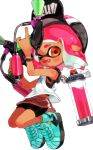1girl absurdres aqua_footwear baseball_cap basketball_jersey bike_shorts black_headwear black_shorts bob_cut bracelet commentary domino_mask dual_wielding fang floating full_body grey_skirt hat highres holding holding_weapon ink_tank_(splatoon) inkling inkling_(language) jewelry looking_at_viewer mask miniskirt myon_rio one_eye_closed open_mouth orange_eyes pink_hair pointy_ears shirt shoes short_hair shorts shorts_under_skirt simple_background single_vertical_stripe skirt smile sneakers solo splat_dualies_(splatoon) splatoon_(series) splatoon_2 straight-laced_footwear tank_top tentacle_hair weapon white_background white_shirt