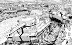 bad_id bad_twitter_id commentary emblem girls_und_panzer greyscale ground_vehicle highres kuromorimine_(emblem) landscape military military_vehicle monochrome motor_vehicle mud no_humans outdoors tank tank_focus tiger_i tiger_ii vehicle_focus yoshida_hajime