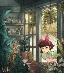 1girl absurdres bangs bow brown_hair door dress green_dress hair_bow highres jar kiki leaf luigi_santos majo_no_takkyuubin pink_bow plant potted_plant shelf short_hair signature solo window