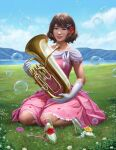 1girl beads blue_sky brown_eyes brown_hair clouds derivative_work dress euphonium flower frilled_dress frills full_body glass_slipper gloves grass hair_beads hair_flower hair_ornament hibike!_euphonium highres instrument lake mountain oumae_kumiko pink_dress realistic red_lips sky smile solo triximity white_gloves