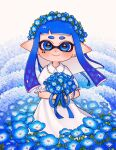 1girl aoaza_83 bangs blue_flower blunt_bangs blunt_ends bouquet closed_mouth collared_dress commentary domino_mask dress earrings field flower flower_field frilled_sleeves frills head_wreath highres holding holding_bouquet inkling jewelry long_dress long_hair looking_at_viewer mask nemophila_(flower) pointy_ears short_sleeves smile solo splatoon_(series) standing stud_earrings tentacle_hair white_dress