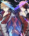 2boys ahoge bangs black_gloves blue_eyes closed_mouth crossed_bangs dual_persona electricity genshin_impact gloves hair_between_eyes holding holding_mask jacket jewelry male_focus mask mirror_image multiple_boys orange_hair pants red_scarf scarf single_earring sio_genshin tartaglia_(genshin_impact) water
