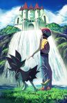 1boy arm_up backpack bag black_hair building clouds commentary_request day from_below gen_4_pokemon grass hat lucas_(pokemon) luxray male_focus outdoors pants pokemon pokemon_(creature) pokemon_(game) pokemon_dppt red_footwear red_headwear rowdon shoes short_hair short_sleeves sky standing water waterfall yellow_bag