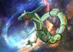 absurdres artist_name claws commentary day_walker1117 dragon english_text floating galaxy gen_3_pokemon hands_up highres legendary_pokemon no_humans outdoors pokemon pokemon_(creature) rayquaza signature solo space star_(sky)