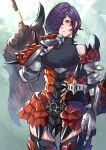 1girl armor armored_boots boots breasts commentary_request cowboy_shot faulds gauntlets greatsword hair_over_one_eye headwear_removed helmet helmet_removed highres medium_breasts mikan_(chipstar182) monster_hunter_(series) original purple_hair rathalos_(armor) red_eyes short_hair skindentation solo standing sweat thigh-highs thigh_boots weapon weapon_on_back