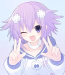 1girl ;d bangs blush choker collarbone d-pad d-pad_hair_ornament drawstring eyebrows_visible_through_hair eyes_visible_through_hair hair_between_eyes hair_ornament hands_up long_sleeves looking_at_viewer medium_hair neptune_(neptune_series) neptune_(series) official_style one_eye_closed open_mouth purple_hair smile solo suta_(clusta) upper_body violet_eyes white_choker