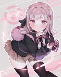 1girl absurdres backpack bag bangs bent_over black_jacket black_legwear black_shirt blush breasts commentary_request contrapposto danganronpa_(series) danganronpa_2:_goodbye_despair dress_shirt feet_out_of_frame flipped_hair hair_intakes hair_ornament handheld_game_console highres holding hood jacket long_sleeves looking_at_viewer miniskirt nanami_chiaki neck_ribbon open_clothes open_jacket parted_lips pink_bag pink_eyes pink_hair pink_ribbon pleated_skirt ribbon shirt skirt solo spaceship_hair_ornament thigh-highs usanta white_shirt zettai_ryouiki