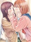2girls :t bangs black_hair blue_sailor_collar blush brown_eyes brown_hair closed_mouth collared_shirt commentary_request eye_contact eyebrows_visible_through_hair fingernails hand_on_another's_face hands_on_another's_cheeks hands_on_another's_face highres long_hair long_sleeves looking_at_another multiple_girls necktie original pink_sweater plaid plaid_neckwear plaid_skirt pleated_skirt profile red_neckwear sailor_collar school_uniform serafuku shirt short_hair skirt sparkle strawberry_(akira-love) sweater tearing_up tears white_shirt yuri