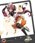 1girl absurdres animal_ears beanie black_legwear black_nails brown_hair casual cat_ears cellphone closed_eyes damalei fang flower full_body genshin_impact ghost hat highres holding holding_phone hu_tao long_hair nail_polish orange_skirt phone red_eyes selfie shoes short_sleeves skirt smartphone smile sneakers solo teeth text_focus thigh-highs