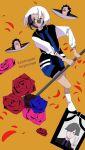 1girl blue_flower blue_rose boots flower full_body highres jacket kannsaete_kuyasiiwa_(zutomayo) long_sleeves looking_at_viewer orange_background parted_lips petals pink_flower pink_rose red_flower red_rose rose short_hair shorts smile sunglasses user_wjnz3583 white-framed_eyewear white_footwear white_hair zutto_mayonaka_de_ii_no_ni