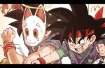2boys armband bandana black_hair bunny_mask dougi dragon_ball dragon_ball_gt fighting goku_jr halo headband highres martial_arts multiple_boys open_mouth punching red_headband ruto830 son_goku spiky_hair teeth torn_clothes undershirt uniform wristband