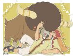 1boy alder_(pokemon) arm_hair border bouffalant closed_eyes commentary_request facial_hair gen_5_pokemon hair_tie heart leg_hair long_hair lying male_focus multicolored_hair on_side open_mouth orange_hair outline pants poke_ball pokemon pokemon_(creature) pokemon_(game) pokemon_bw poncho redhead sandals sanwari_(aruji_yume) smile teeth tied_hair toes torn_clothes torn_pants two-tone_hair white_border white_pants