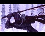 1boy armor artist_name blood bloodborne bloody_crow_of_cainhurst bloody_weapon cape chikage_(bloodborne) full_armor gauntlets grey_hair helm helmet highres holding holding_sword holding_weapon jewelry katana leevolt long_hair male_focus necklace outdoors patterned patterned_clothing rain red_cape solo sword vambraces weapon