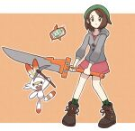 1girl boots brown_eyes brown_footwear brown_hair buttons cardigan closed_mouth collared_dress commentary_request dress eyebrows_visible_through_hair frown gen_4_pokemon gen_8_pokemon gloria_(pokemon) green_headwear green_legwear grey_cardigan hat highres holding holding_sword holding_weapon hooded_cardigan idalol490 outline pink_dress plaid plaid_legwear pokemon pokemon_(creature) pokemon_(game) pokemon_swsh rotom rotom_phone scorbunny short_hair socks standing starter_pokemon sword tam_o'_shanter weapon