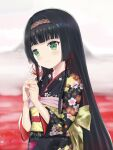 1girl bangs bishoujo_mangekyou black_hair black_kimono blunt_bangs blush closed_mouth flat_chest floral_print flower green_eyes hairband highres hime_cut holding holding_flower japanese_clothes kimono li_(1364037309) long_hair looking_at_viewer obi obiage obijime print_kimono renge_(bishoujo_mangekyou) sash sidelocks smile solo spider_lily upper_body