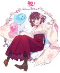 1girl artist_request atelier_(series) atelier_sophie boots brown_eyes cherry_blossoms cross-laced_footwear hakama highres japanese_clothes kimono lace-up_boots official_art open_mouth puni_(atelier) red_hakama redhead short_hair smile solo sophie_neuenmuller