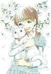1girl 2012 absurdres animal bangs bell blue_dress blunt_bangs brown_eyes brown_hair cat collared_dress dated dot_nose dress eyebrows_visible_through_hair eyelashes facing_viewer flower half-closed_eyes happy highres holding holding_animal kawamoto_hinata laughing leaf long_sleeves looking_down open_mouth pale_color petals polka_dot polka_dot_dress pom_pom_(clothes) puffy_short_sleeves puffy_sleeves sangatsu_no_lion short_over_long_sleeves short_sleeves signature simple_background solo teeth twintails umino_chika upper_body upper_teeth white_background white_flower