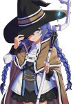 1girl black_headwear black_skirt blue_eyes blue_hair braid brown_cape brown_capelet cape collared_shirt commentary_request cowboy_shot crystal glowing hand_on_headwear hand_up hat highres holding holding_staff jacket long_hair low_twintails mushoku_tensei roxy_migurdia shirt simple_background skirt solo somasoutaro staff standing twin_braids twintails very_long_hair white_background white_jacket white_shirt witch_hat