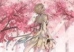 1girl artist_name backless_dress backless_outfit blonde_hair blood blood_on_face bloody_clothes bloody_hands blurry blurry_foreground cherry_blossoms commentary cowboy_shot dated detached_sleeves dress english_commentary expressionless genshin_impact gold_trim head_tilt highres looking_at_viewer looking_back lumine_(genshin_impact) outdoors petals sakon04 scarf short_hair short_hair_with_long_locks single_thighhigh solo thigh-highs tree twitter_username white_dress white_legwear white_scarf yellow_eyes