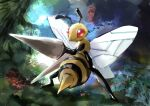 absurdres animal_focus artist_name bee beedrill blank_eyes bug bush commentary day day_walker1117 english_text forest full_body gen_1_pokemon grass highres insect insect_wings lance nature no_humans outdoors pokemon pokemon_(creature) polearm red_eyes signature solo standing tree weapon wings