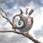 absurdres animal_focus artist_name bird black_sclera blurry blurry_background bokeh closed_mouth colored_sclera commentary day_walker1117 depth_of_field english_text full_body gen_4_pokemon highres no_humans pokemon pokemon_(creature) signature sitting solo starly stick white_eyes
