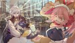 1boy 1girl animal_ear_fluff animal_ears apron bangs bell black_dress chinese_clothes covering_eyes csyday dazzled dress fang fate/grand_order fate_(series) fox_ears fox_girl fox_tail frilled_apron frilled_dress frills gao_changgong_(fate) glass gloves glowing holding holding_plate holding_tray jingle_bell maid maid_apron maid_headdress neck_bell omelet one_eye_closed open_mouth paw_gloves paws pink_hair plate ponytail puffy_short_sleeves puffy_sleeves short_sleeves silver_hair table tail tamamo_(fate)_(all) tamamo_cat_(fate) tray violet_eyes yellow_eyes