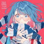 1girl 2020 aqua_eyes bangs blue_hair colored_inner_hair eyebrows_visible_through_hair heart heart-shaped_pupils illustration.media issindotai long_sleeves looking_at_viewer multicolored_hair original parted_lips pink_hair red_background scarf solo striped striped_scarf symbol-shaped_pupils two-tone_hair upper_body