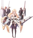 1girl anchor aqua_eyes artist_request bangs black_legwear blonde_hair blue_oath blush breasts bridal_gauntlets capelet covering covering_breasts damaged earrings eyebrows_visible_through_hair frills hair_bun highres jewelry long_hair low_twintails medium_breasts nose_blush official_art open_mouth pantyhose ribbon sleeveless solo standing star-shaped_pupils star_(symbol) star_earrings symbol-shaped_pupils torn_clothes torn_legwear transparent_background twintails union_jack vanguard_(blue_oath) white_footwear