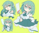 1girl 76gpo alternate_hairstyle breasts detached_sleeves frog frog_hair_ornament gohei green_eyes green_hair hair_ornament hair_tubes kochiya_sanae large_breasts one_eye_closed open_mouth ponytail skirt smile snake snake_hair_ornament solo star_(symbol) touhou