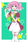 1girl :o arm_up bangs border buttons commentary_request dress eyebrows_visible_through_hair feet_out_of_frame flower green_background green_eyes hair_flower hair_ornament highres hiiragi_nana holding holding_pencil holding_sketchbook multicolored_hair munou_na_nana open_mouth pencil pink_hair red_dress sailor_collar short_hair short_sleeves simple_background solo star-shaped_pupils star_(symbol) symbol-shaped_pupils thigh-highs two-tone_hair white_flower white_hair white_legwear white_sailor_collar yukisa