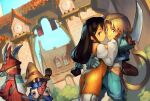 2boys 2girls ass black_hair blonde_hair bodysuit breast_press breasts burmecian commentary couple crossed_arms english_commentary final_fantasy final_fantasy_ix freija_crescent garnet_til_alexandros_xvii hetero holding holding_sword holding_weapon hug long_hair looking_at_viewer low-tied_long_hair medium_breasts monkey_tail multiple_boys multiple_girls optionaltypo orange_bodysuit pantylines short_sword sword tail vivi_ornitier weapon zidane_tribal
