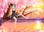 1girl artist_name bare_legs bare_shoulders barefoot bishoujo_senshi_sailor_moon bishoujo_senshi_sailor_moon_crystal black_dress black_moon_clan black_skirt blush burbur cherry_blossoms colorful curly_hair dark_green_hair dress english_commentary evening facing_viewer feet finger_to_mouth fingernails full_body green_eyes green_hair green_nails index_finger_raised looking_at_viewer mixed-language_commentary mountain no_shoes open_mouth orange_sky parted_lips river scenery short_dress short_hair sitting skirt sky sleeveless sleeveless_dress smile sunset teeth tellu_(sailor_moon) tree water watermark witches_5
