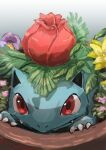 absurdres animal_focus artist_name claws closed_mouth commentary_request day_walker1117 english_text engrish_text fern flower gen_1_pokemon gradient gradient_background grey_background highres ivysaur no_humans pink_flower plant pokemon pokemon_(creature) potted_plant purple_flower ranguage red_eyes signature simple_background solo yellow_flower