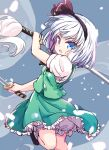1girl bangs black_footwear black_hairband blue_eyes cherry_blossoms eyebrows_visible_through_hair frilled_skirt frills green_skirt green_vest grey_background hairband holding holding_sword holding_weapon isu_(is88) katana konpaku_youmu konpaku_youmu_(ghost) leg_up looking_at_viewer multiple_swords open_mouth shirt short_hair short_sleeves simple_background skirt solo sword touhou v-shaped_eyebrows vest weapon white_hair white_shirt