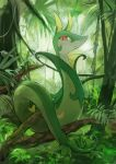 absurdres animal_focus bush closed_mouth commentary day day_walker1117 fern full_body gen_5_pokemon grass green_theme happy highres jungle looking_at_viewer nature no_humans outdoors pokemon pokemon_(creature) red_eyes serperior smile snake solo tree