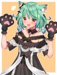 1girl :d ahoge animal_ears arms_up bangs bare_shoulders black_dress blue_hair blush brooch cat_ears collarbone commentary_request detached_collar dress ear_piercing ear_ribbon fang flat_chest frilled_dress frilled_straps frills gloves gradient_hair green_hair hair_ribbon highres hololive jewelry looking_at_viewer low_twintails mi_taro333 mixed-language_commentary multicolored_hair off-shoulder_dress off_shoulder official_alternate_costume open_mouth paw_gloves paws piercing red_eyes ribbon see-through_sleeves short_hair short_sleeves short_twintails sidelocks single_earring skin_fang smile solo twintails uruha_rushia virtual_youtuber w_arms