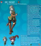 1boy 1girl armor artist_name bangs belt blue_hair blunt_bangs boots brown_eyes character_name character_profile colored_skin commentary english_commentary eyebrows_visible_through_hair gambeson gen_1_pokemon gloves grey_skin hat hat_feather heart heart-shaped_pupils highres kinkymation leather leather_belt leather_boots leather_gloves long_hair machop open_mouth orange_eyes pauldrons personification poke_ball pokemon ponytail purple_hair sheath sheathed shoulder_armor sword symbol-shaped_pupils tail thigh-highs thigh_boots weapon