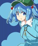 1girl bangs blue_background blue_dress blue_eyes blue_hair blue_theme breasts collared_dress dress eyebrows_visible_through_hair flat_cap green_headwear hair_bobbles hair_ornament hat kawashiro_nitori key looking_at_viewer moja_(moja4192) open_mouth striped touhou two_side_up vertical_stripes