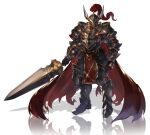 absurdres armor black_armor cawang fantasy full_armor full_body helm helmet highres looking_at_viewer original plate_armor shadow simple_background solo standing sword twitter_username watermark weapon white_background winged_helmet