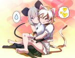 2girls ;q animal_ears bangs barefoot black_legwear breasts brown_eyes capelet cat_ears cat_tail commentary_request dress eyebrows_visible_through_hair flat_chest goutokuji_mike gradient gradient_background grey_dress hair_between_eyes heart heart_background leg_lock light_blush looking_at_another medium_breasts midriff mouse_ears mouse_tail multicolored_hair multiple_girls nazrin no_shoes one_eye_closed otoufu_(wddkq314band) pantyhose puffy_short_sleeves puffy_sleeves red_eyes shirt short_hair short_sleeves shorts silver_hair simple_background soles spoken_heart spoken_sweatdrop streaked_hair sweatdrop tail toes tongue tongue_out touhou white_capelet white_shirt white_shorts yuri
