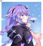 1girl alternate_costume bare_shoulders blue_eyes blush braid breasts eyebrows_visible_through_hair face from_side hair_between_eyes hair_ornament highres lewdkuma long_hair neptune_(series) power_symbol purple_hair purple_heart serious solo symbol-shaped_pupils twin_braids winter winter_clothes