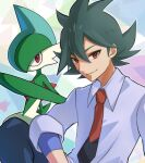 1boy bangs closed_mouth collared_shirt commentary_request gallade gen_4_pokemon green_hair grey_shirt hair_between_eyes highres male_focus necktie outline pokemon pokemon_(anime) pokemon_(creature) pokemon_swsh_(anime) punico_(punico_poke) red_eyes red_neckwear rinto_(pokemon) shirt sleeves_rolled_up smile two-tone_neckwear undershirt