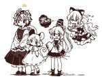 5girls animal_ears barefoot biyon black_footwear blush_stickers bow bowl bowl_hat capelet commentary_request dot_mouth floating hair_bow hair_ornament hat holding holding_bowl in_bowl in_container japanese_clothes jewelry kariginu limited_palette long_hair minigirl mononobe_no_futo mouse_ears mouse_tail multiple_girls nazrin open_mouth pendant ponytail shirt shoes short_hair simple_background skirt sleeves_past_fingers sleeves_past_wrists smile socks stuffed_animal stuffed_cat stuffed_toy sukuna_shinmyoumaru tail tiger_stripes toramaru_shou touhou twitter_username white_background white_legwear yorigami_shion