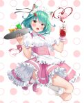 1girl :d alternate_costume animal_ear_fluff animal_ears apron bangs blush bottle breasts cat_ears collared_shirt cup drink drinking_glass eyebrows_visible_through_hair food frilled_apron frilled_legwear frilled_skirt frills green_hair heart highres holding holding_bottle holding_tray hololive ice ice_cube k_mugura ketchup ketchup_bottle kneehighs looking_at_viewer maid_headdress omurice open_mouth pink_footwear pink_skirt polka_dot polka_dot_background puffy_short_sleeves puffy_sleeves red_eyes shirt shoes short_sleeves skirt small_breasts smile solo tray uruha_rushia virtual_youtuber waist_apron white_apron white_background white_legwear white_shirt wrist_cuffs