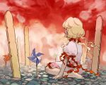 1girl 1other barefoot blonde_hair child cobblestone dress earlobes ebisu_eika frills from_side grave hands_on_ground kaigen_1025 long_hair looking_at_another looking_away looking_to_the_side pinwheel planted puffy_short_sleeves puffy_sleeves rock seiza shirt short_sleeves silhouette sitting skirt solo_focus sotoba touhou white_shirt wily_beast_and_weakest_creature