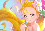 1girl absurdres bare_shoulders cure_summer eriko flower green_eyes hair_flower hair_ornament highres huge_filesize long_hair magical_girl natsuumi_manatsu parted_lips precure smile solo tropical-rouge!_precure upper_body