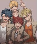 4boys ahoge archer_(fate/prototype) arm_on_shoulder arthur_pendragon_(fate) blonde_hair blue_eyes closed_eyes cu_chulainn_(fate)_(all) cu_chulainn_(fate/prototype) emiya_shirou fangs fate/prototype fate/stay_night fate_(series) green_eyes highres homurahara_academy_uniform jacket long_hair multiple_boys none_(kameko227) open_mouth orange_hair orange_shirt ponytail red_eyes red_shirt school_uniform shirt simple_background smile spiky_hair teeth waving white_shirt