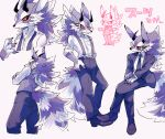 1boy ajuka alternate_costume animal_ears bael_(tokyo_houkago_summoners) breast_pocket chibi claws collared_shirt formal full_body fur furry glasses grey_fur horns invisible_chair long_sleeves looking_at_viewer male_focus multicolored_fur multiple_views necktie parted_lips pocket purple_fur shirt shrugging sideways_glance sitting smile standing suit suspenders tail tokyo_houkago_summoners undone_necktie vest white_fur