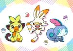 :d alternate_color black_eyes bright_pupils closed_mouth commentary_request gen_8_pokemon great_ball grookey master_ball no_humans open_mouth paws poke_ball poke_ball_(basic) pokemon pokemon_(creature) punico_(punico_poke) scorbunny shiny_pokemon smile sobble starter_pokemon_trio toes tongue tooth ultra_ball